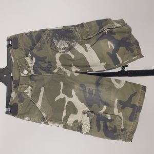 Anger Mgmt Boy's Cargo Shorts Size 8 Green Camo Pockets Belt Loops Zip-Fly